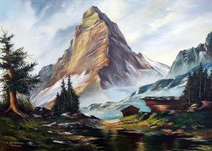 Ölgemälde Das Matterhorn A. Kriwan nach K. Gaiermann